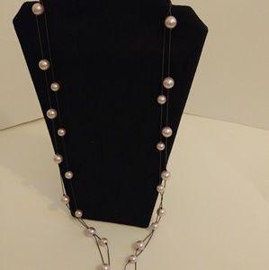 RMN Multistrand Layered Pink & Black Necklace
